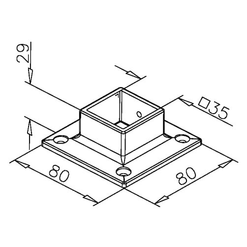 Wall/Floor Flange - Square - Dimensions