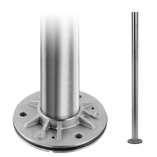 Stainless Steel Baluster Mid Post With Base Plate
