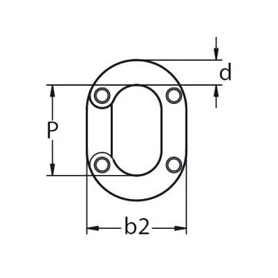 Split Connecting Chain Link - 316 Grade Stainless Steel - Diagram
