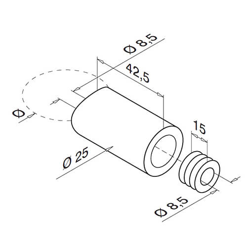 Stainless Steel Tube to Flat Spacer Bracket Diagram