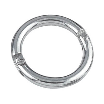 Stainless Steel Two-Part Round Ring with Riveted Hinge and Screw