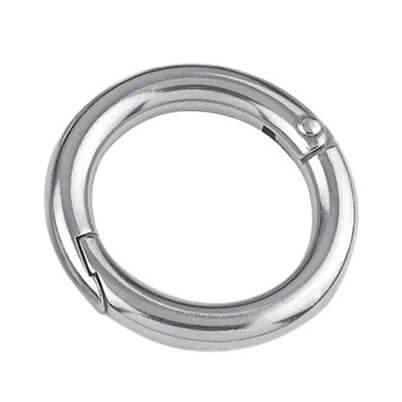 Stainless Steel Two-Part Round Ring with Riveted Hinge and Snap Fastener