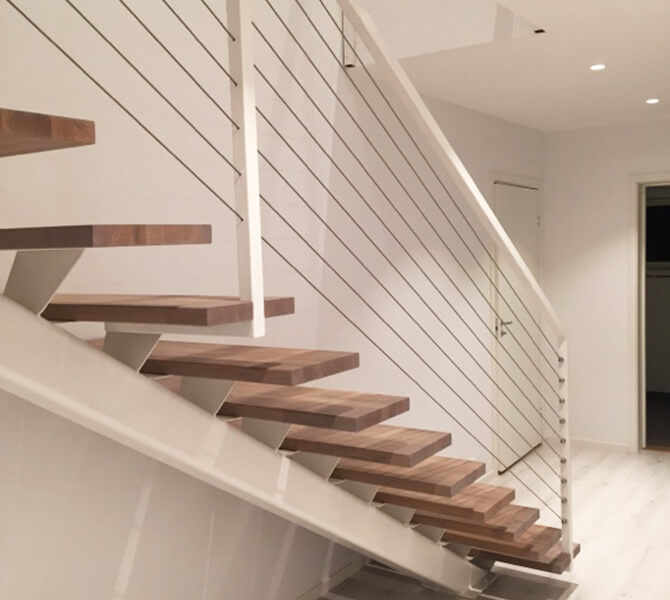 Staircase with Stainless Steel Balustrade Wire
