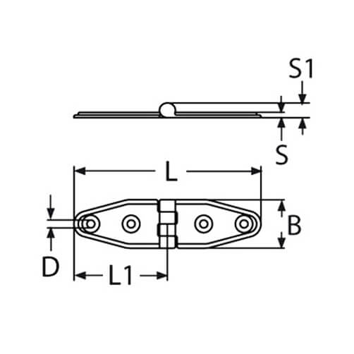 Stamped Strap Hinge - Dimensions