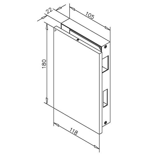 Glass Door Strike Box - Dimensions