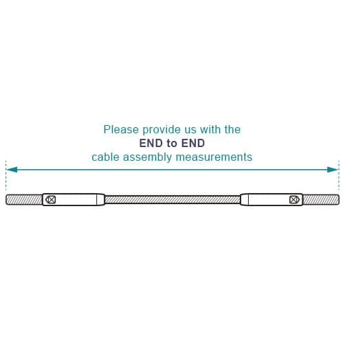 Stud to Stud Wire Rope Assembly - Measurement