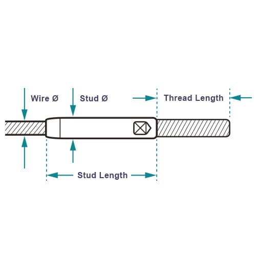 Threaded End Stud - Dimensions