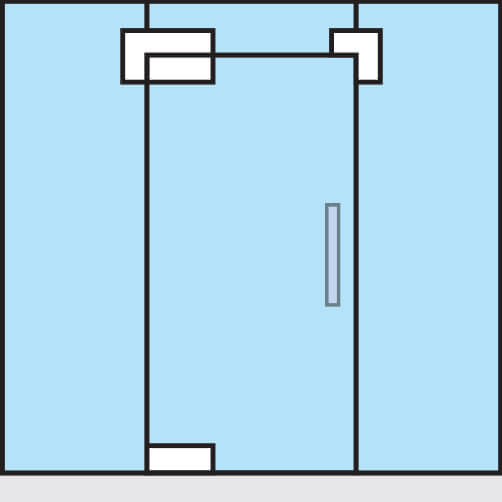 Glass Swing Door Patch Kit - Glass to Glass Mount - Position
