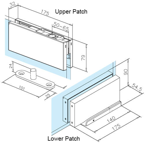 Glass Swing Door Patch Kit - Patch Dimensions