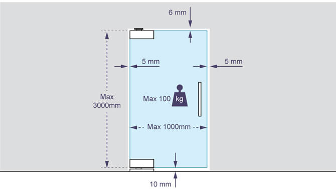 Glass Swing Door Patch Kit - Spacing