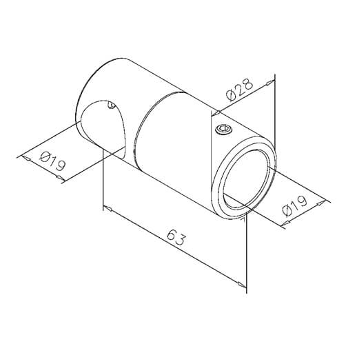 Tube T-Connector - Dimensions