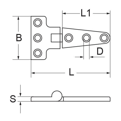 T-Strap Hinge - 6 Hole - Dimensions