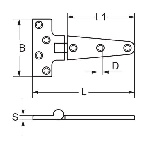 T-Strap Hinge - 7 Hole - Dimensions