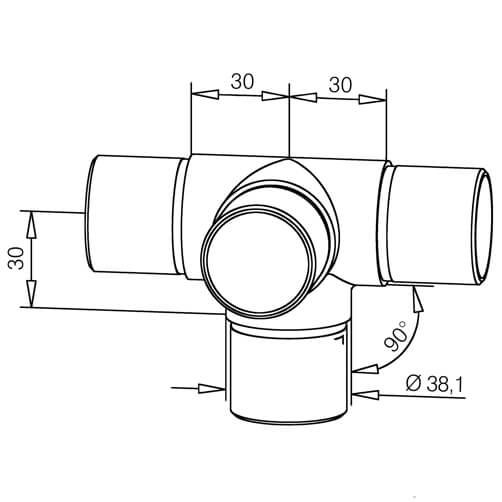 Tube Connector - Flush Tee with 90 Degree Outlet - Dimensions