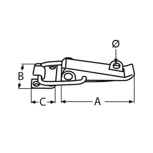 Lockable Tensor Latch - Dimensions