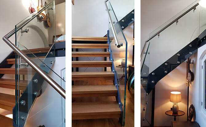 Glass Mounting Adapters on Stairs - The Chapel, Scrooby