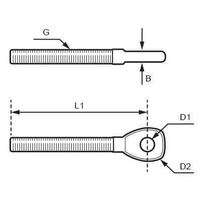 Stainless Steel Threaded Eye Stud Diagram