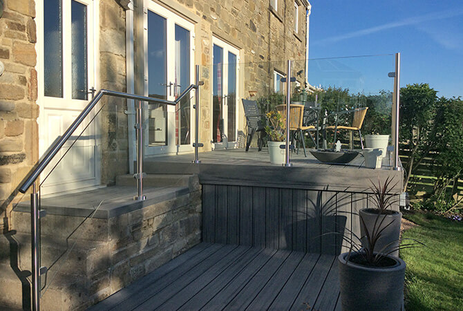Raised Decking Area Balustrade leading to Stepped Balustrade