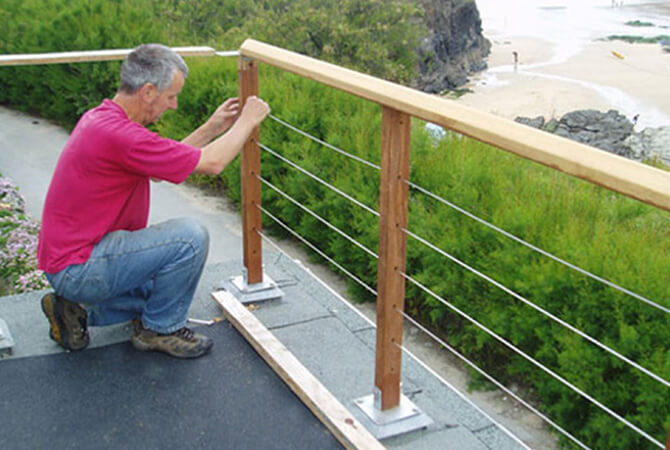 Balustrade cables as installed at trevone cornwall as for Garden decking rope fittings
