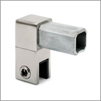 Square Tube End Bracket with Glass Clamp