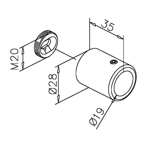 Tube Mounting Bracket - Dimensions