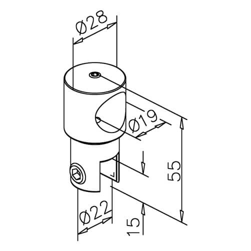 Tube Bracket with Glass Clamp - Dimensions