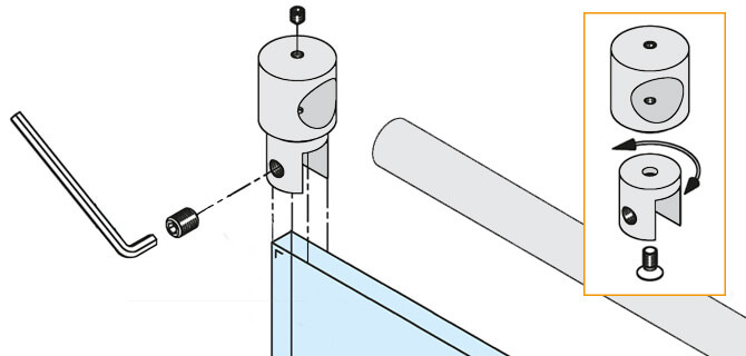 End Bracket - Tube to Glass Installation