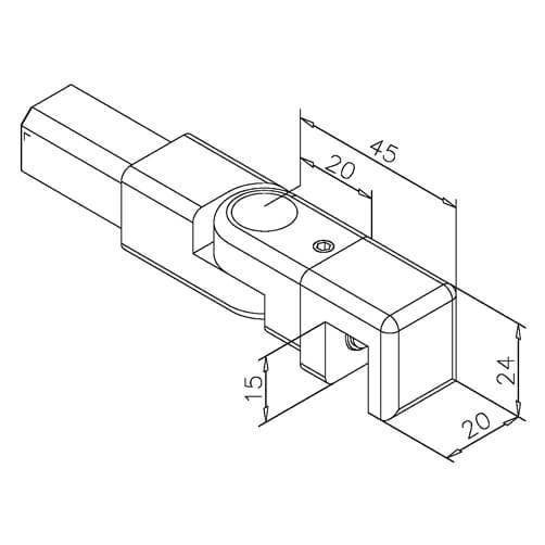 Square Tube Insert - Adjustable - Dimensions