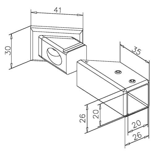 Square Tube Mounting Bracket - Dimensions