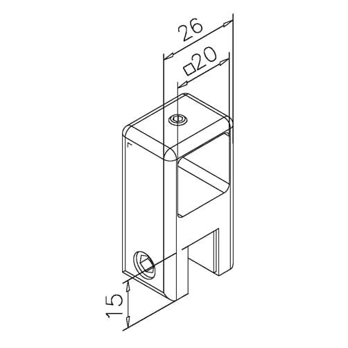 Square Tube Bracket with Glass Clamp - Dimensions