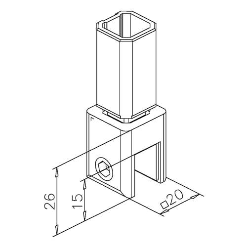 Square Tube Insert - Vertical Mount - Dimensions