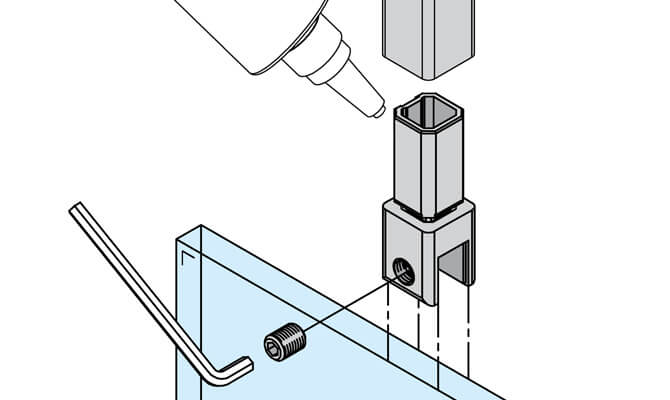 Vertical Square Insert - Tube to Glass Installation