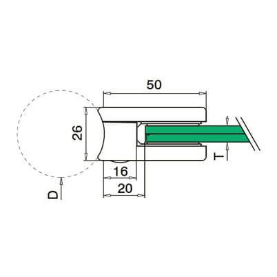 Glass Clamp - D Shape - 6mm to 8mm - Tube Mount - Dimensions