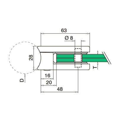 Glass Clamp - D Shape - 6mm to 10mm - Tube Mount - Dimensions