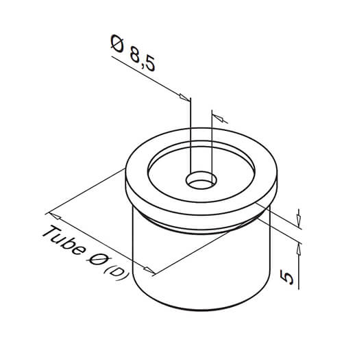 Tube Mounting Adapter With Flat Support For Modular Stainless Steel Balustrade - Diagram