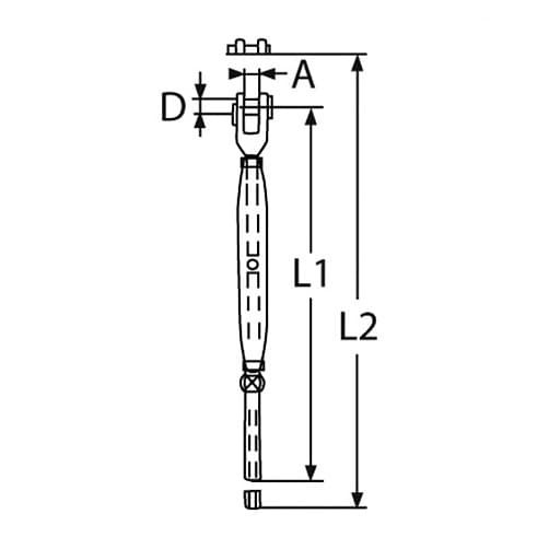 Turnbuckle Fork to Swage Stud - Dimensions
