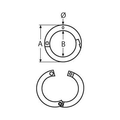 Stainless Steel Two-Part Round Ring with Screw Fixing Diagram