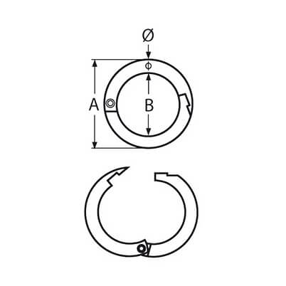 Stainless Steel Two-Part Round Ring with Snap Fastener Diagram