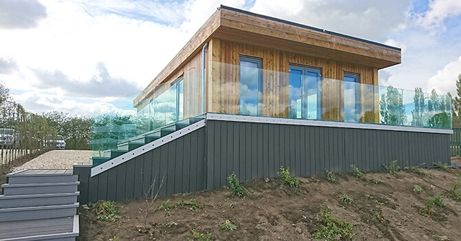 Eco Lodge with Frameless Pro Glass Balustrade System