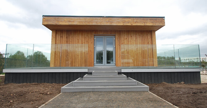 Eco Lodge Entrance with Glass Balustrade