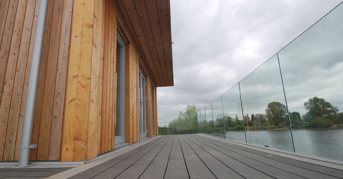 Fascia Mount Glass Balustrade Flush with Decking