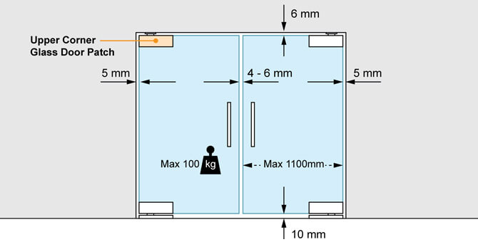 Glass Door Patch - Upper Corner - Spacing and Position