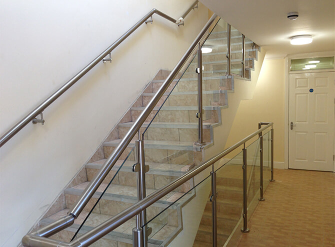 Uxbridge flats staircase balustrade installation.