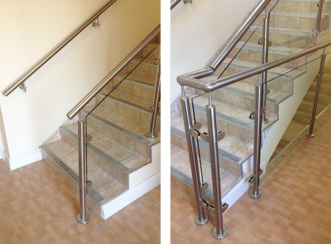 Glass and stainless steel work great together both in safety and style.