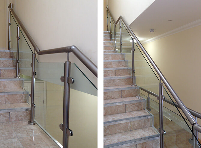 Staircase balustrade installed at residential flats.