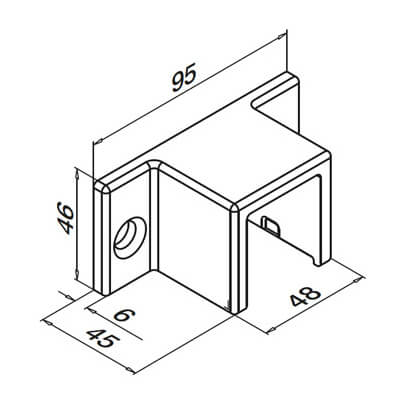 Wall Mount Flange Fixing - 33x39mm Profile - Dimensions
