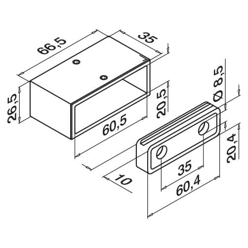 Wall Mount Flange Dimensions - Square Line 60x30 Balustrade