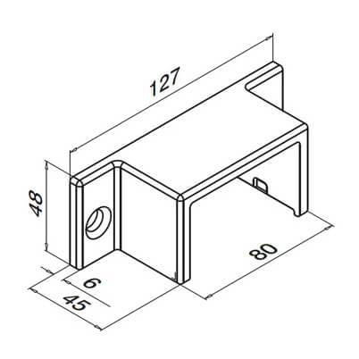 Wall Mount Flange Fixing - 65x40mm Profile - Dimensions