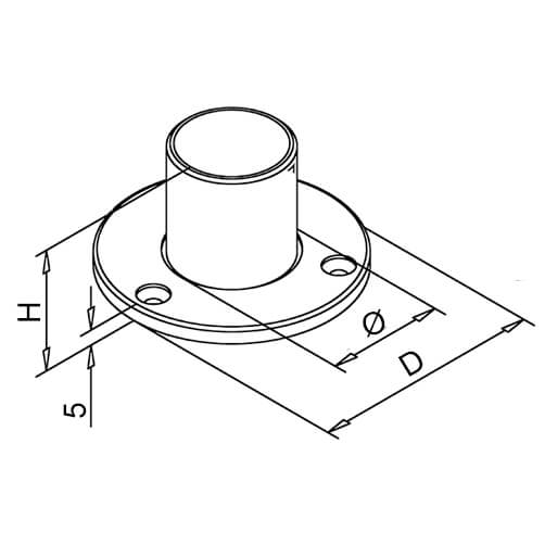 Wall/Floor Flange - Long Neck - Dimensions