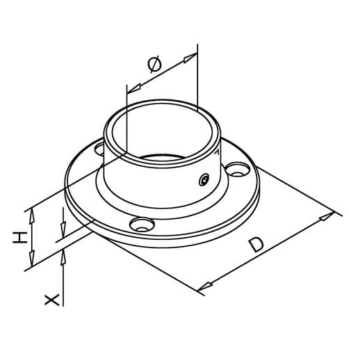 Wall/Floor Flange - Bar Railing - Dimensions